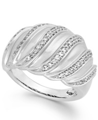 Macy's Diamond Swirl Ring In Sterling Silver 1 4 Ct. T.W.