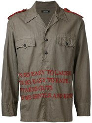 Christian Dada Embroidered Text Shirt Jacket Green