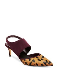 Brian Atwood Genie Slingback Suede And Dyed Hair Calf Pumps Burgundy Leopard
