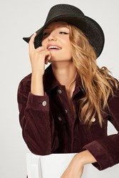 Urban Outfitters Telescope Straw Boater Hat Black