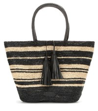 Polo Ralph Lauren Leather Trimmed Raffia Shopper Black