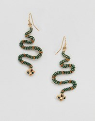 Glamorous Embellished Snake Drop Earrings Gold Green