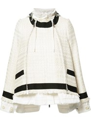 Sacai Drawstring Tweed Jacket White