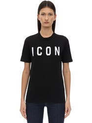 Dsquared Printed Icon Cotton T Shirt Black