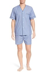 Majestic International Carefree Shorty Pajama Set Blue Stripe