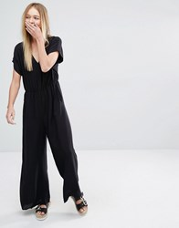 Monki Wide Leg Jumpsuit Black