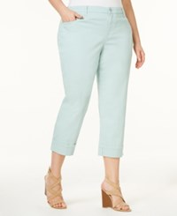 Style And Co Plus Size Tummy Control Capri Jeans Aquamint