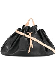 Marsell Large Drawstring Tote Leather Black