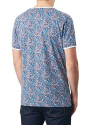 Pretty Green Camley Paisley Print T Shirt Blue