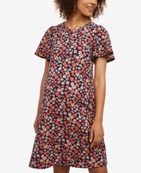 Motherhood Maternity Flutter Sleeve Dress Navy Ditsy Floral Print