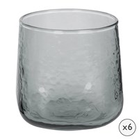 Amara Hammered Glass Tumblers Set Of 6 Grey