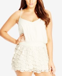 City Chic Plus Size Layered Lace Romper Creme
