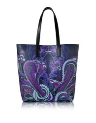 Roberto Cavalli Snake Night Blue Nappa Tote Multicolor