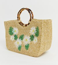 Skinnydip Kaia Straw Tote Bag With Bamboo Handle Beige