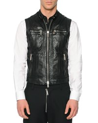 Dsquared2 Leather Moto Vest Black Size 50