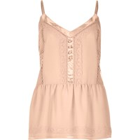 River Island Womens Blush Pink Lace Peplum Cami Top