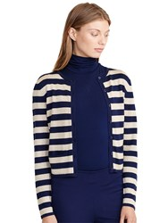 Lauren Ralph Lauren Stripe Metallic Cardigan Navy Gold