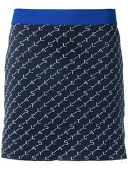 Stella Mccartney Logo Knit Mini Skirt Blue