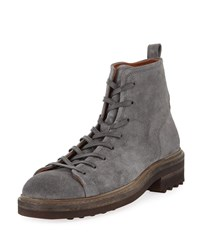 John Varvatos Essex Trooper Suede Boots Gray