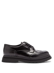 Prada Raised Sole Leather Brogues Black