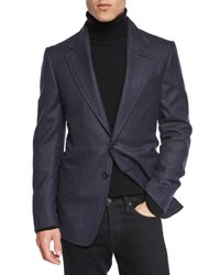 Tom Ford Windowpane Plaid Cardigan Jacket Navy