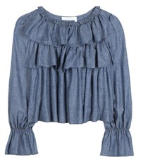 See By Chloe Cotton Blend Chambray Top Blue