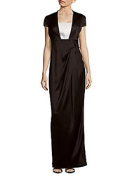 St. John Solid Ankle Length Gown Black White