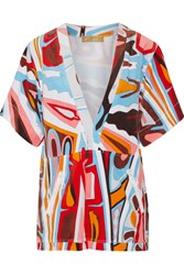 Emilio Pucci Printed Cotton Blend Terry Coverup Orange