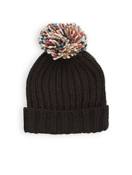 Collection 18 Woven Pom Pom Hat Black Paint Floral