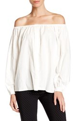 Pink Tartan Eyelet Off The Shoulder Blouse White