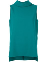P.A.R.O.S.H. High Collar Sleeveless Blouse Blue
