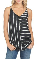 1.State Women's Mixed Stripe Tank Rich Black
