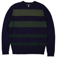 Lords Of Harlech Dave Striped Crewneck Sweater In Plum Green Pink Purple