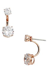 Nordstrom Cubic Zirconia Jacket Earrings Clear Rose Gold