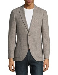 Black Brown Herringbone Wool Button Front Jacket Natural