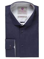 Skopes Textured Slim Fit Long Sleeve Formal Shirt Navy