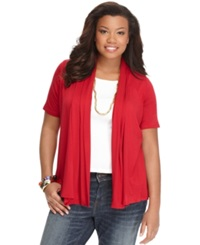 Ing Plus Size Short Sleeve Open Front Cardigan Cayenne