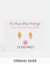 Dogeared Gold Plated Feather Stud Earrings Gold