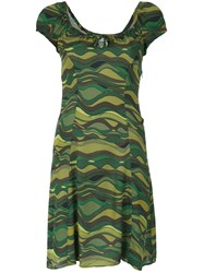 Amir Slama Wave Print Dress Green
