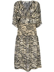 Nicholas Zebra Print Midi Dress Brown