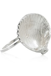 Daisy Knights Sterling Silver And Cubic Zirconia Shell Ring