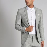 River Island Light Grey Check Skinny Fit Suit Jacket