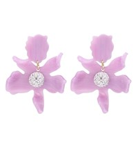 Lele Sadoughi Crystal Floral Earrings Purple