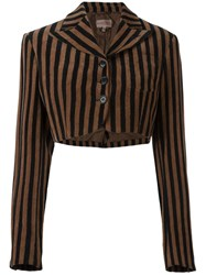 Romeo Gigli Vintage Striped Bolero Jacket Black