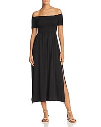 Michelle By Comune Duval Off The Shoulder Smocked Midi Dress Black