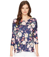 Nally And Millie Dolman Sleeve Navy Floral Print Tunic Multi Blouse