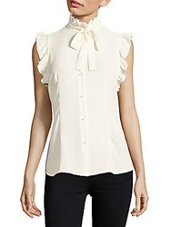Jones New York Solid Ruffled Sleeveless Top White