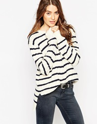 Levi's Boyfriend Cable Jumper With Stripes Egretstripecable