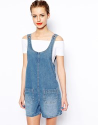 New Look Pinafore Playsuit Blue