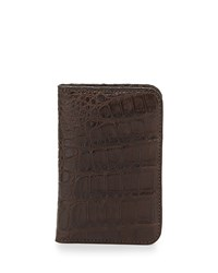 Crocodile Fold Over Card Case Brown Men's Santiago Gonzalez